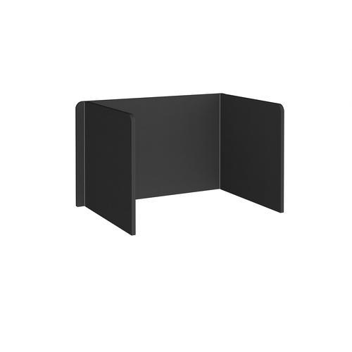 Free-standing 3-sided 700mm high fabric desktop screen 1200mm wide - black