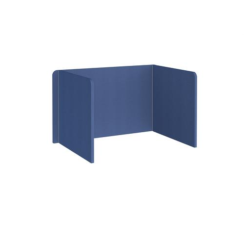 Free-standing 3-sided 700mm high fabric desktop screen 1200mm wide - adriatic blue