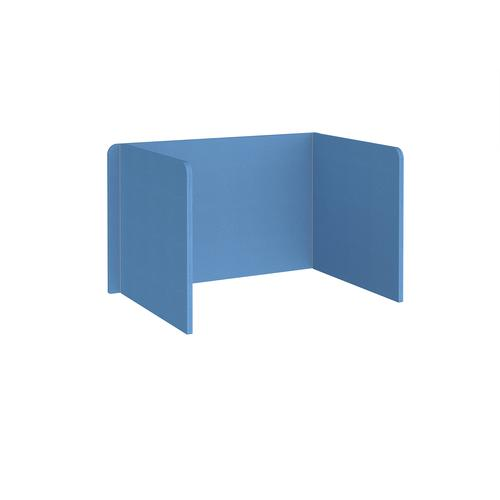 Free-standing 3-sided 700mm high fabric desktop screen 1200mm wide - inverness blue