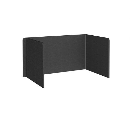Free-standing 3-sided 700mm high fabric desktop screen 1400mm wide - charcoal