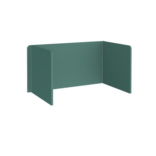 Free-standing 3-sided 700mm high fabric desktop screen 1400mm wide - carron green