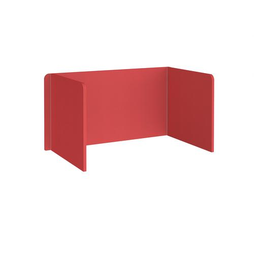 Free-standing 3-sided 700mm high fabric desktop screen 1400mm wide - pitlochry red