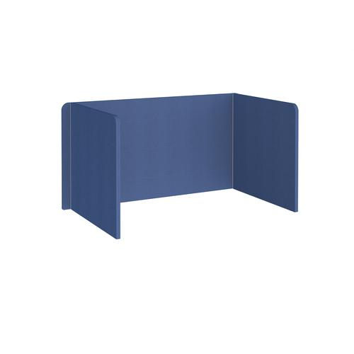 Free-standing 3-sided 700mm high fabric desktop screen 1400mm wide - adriatic blue