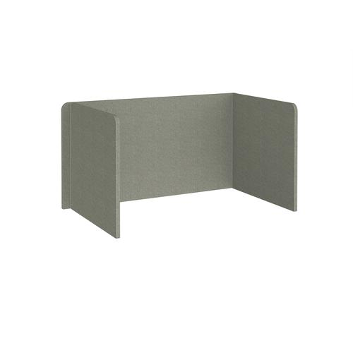 Free-standing 3-sided 700mm high fabric desktop screen 1400mm wide - hillswick grey