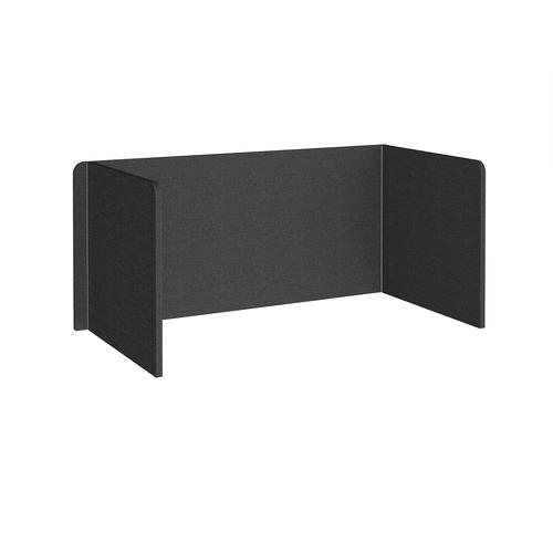 Free-standing 3-sided 700mm high fabric desktop screen 1600mm wide - charcoal