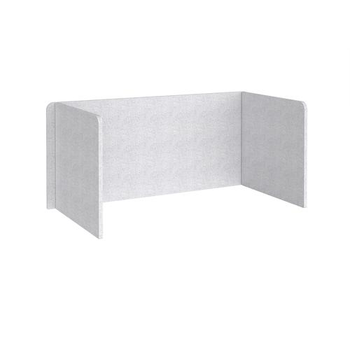 Free-standing 3-sided 700mm high fabric desktop screen 1600mm wide - glass grey