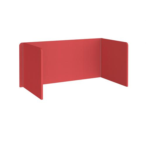 Free-standing 3-sided 700mm high fabric desktop screen 1600mm wide - pitlochry red