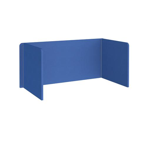 Free-standing 3-sided 700mm high fabric desktop screen 1600mm wide - galilee blue