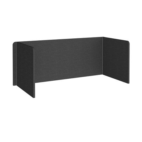 Free-standing 3-sided 700mm high fabric desktop screen 1800mm wide - charcoal