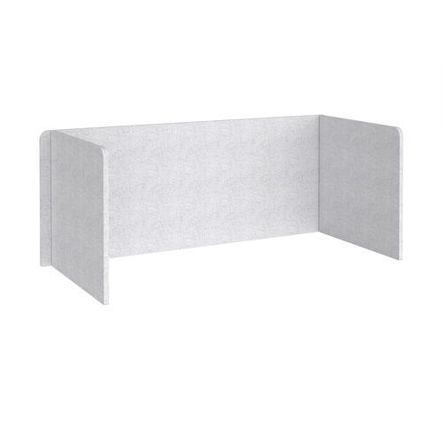 Free-standing 3-sided 700mm high fabric desktop screen 1800mm wide - glass grey