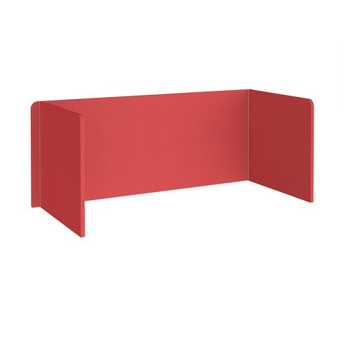 Free-standing 3-sided 700mm high fabric desktop screen 1800mm wide - pitlochry red