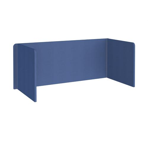 Free-standing 3-sided 700mm high fabric desktop screen 1800mm wide - adriatic blue