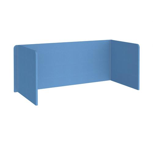 Free-standing 3-sided 700mm high fabric desktop screen 1800mm wide - inverness blue