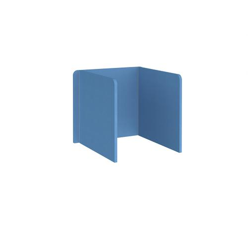Free-standing 3-sided 700mm high fabric desktop screen 800mm wide - inverness blue