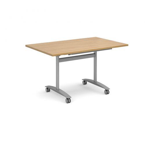 Deluxe Fliptop Table Rectangle 1400x800mm Silver Frame/Oak Top DFLP14-S-O