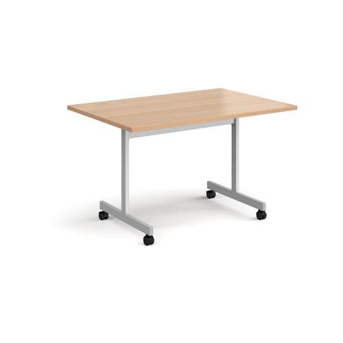 Rectangular fliptop meeting table with silver frame 1200mm x 800mm - beech