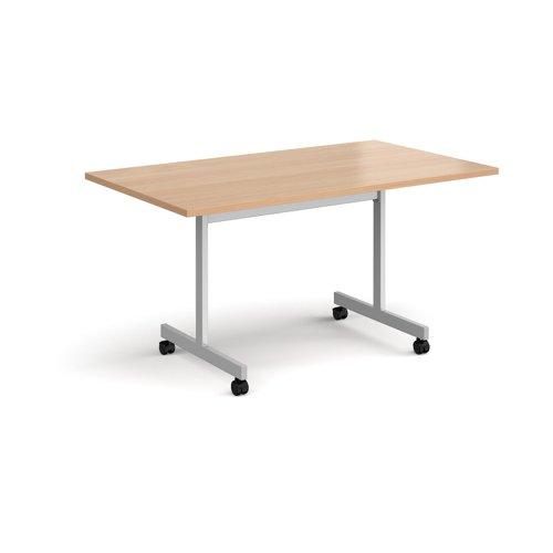 Rectangular fliptop meeting table with silver frame 1400mm x 800mm - beech