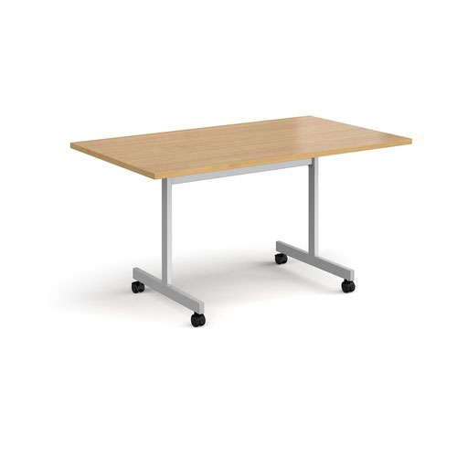 Rectangular fliptop meeting table with silver frame 1400mm x 800mm - oak