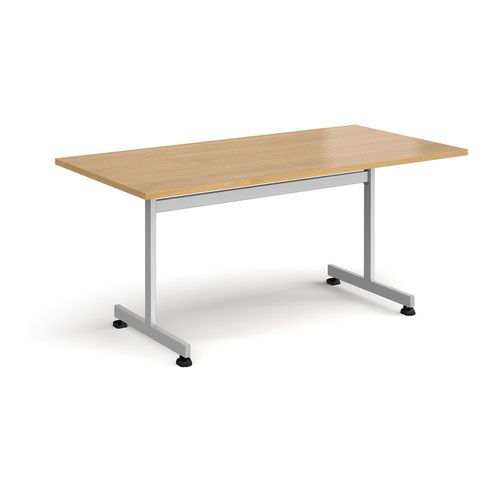 Rectangular fliptop meeting table with silver frame 1600mm x 800mm - oak