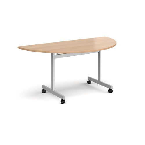 Semi circular fliptop meeting table with silver frame 1600mm x 800mm - beech