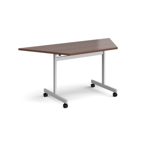 Trapezoidal fliptop meeting table with silver frame 1600mm x 800mm - walnut