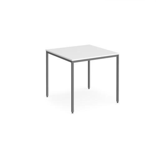 Rectangular flexi table with graphite frame 800mm x 800mm - white