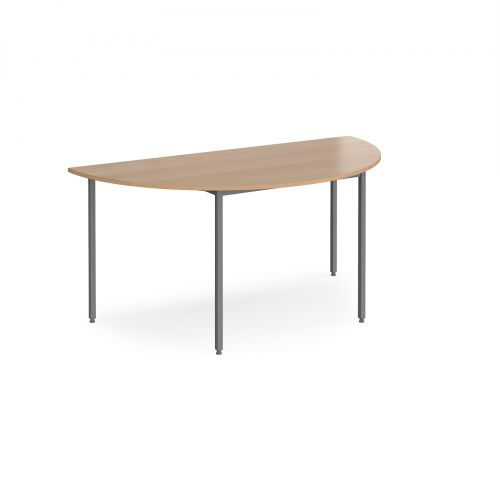 Semi circular flexi table with graphite frame 1600mm x 800mm - beech
