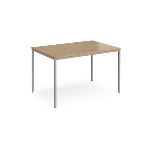 Rectangular flexi table with silver frame 1200mm x 800mm - oak