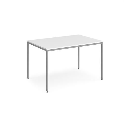 Rectangular flexi table with silver frame 1200mm x 800mm - white