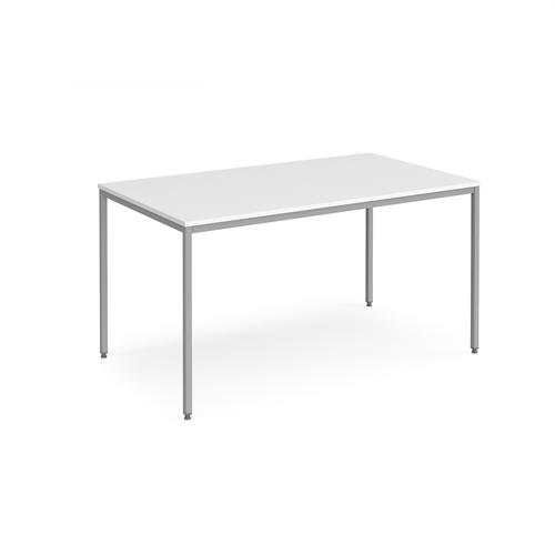 Rectangular flexi table with silver frame 1400mm x 800mm - white
