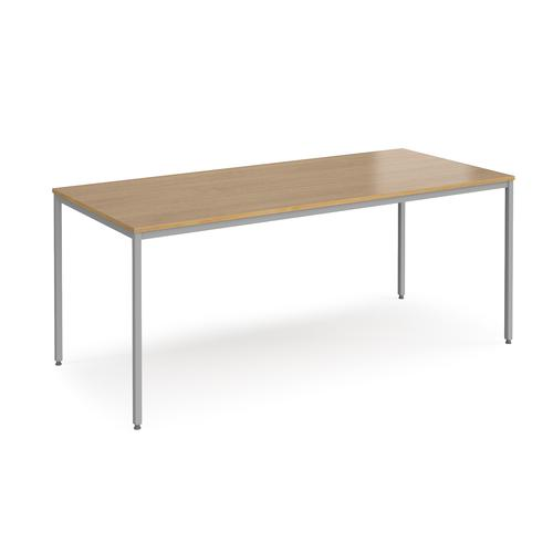 Rectangular flexi table with silver frame 1800mm x 800mm - oak