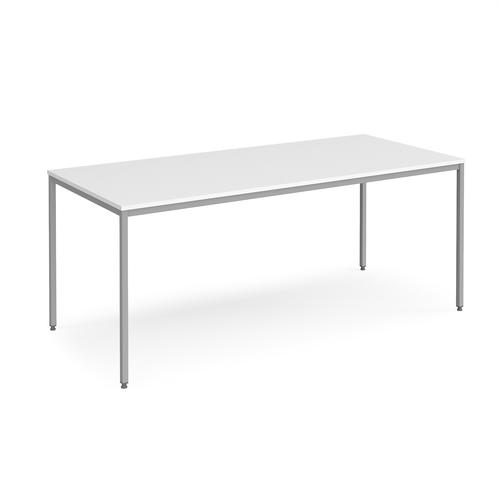Rectangular flexi table with silver frame 1800mm x 800mm - white