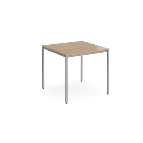 Square Flexi-Table 800x800mm Silver Frame/Beech Top FLXS8B