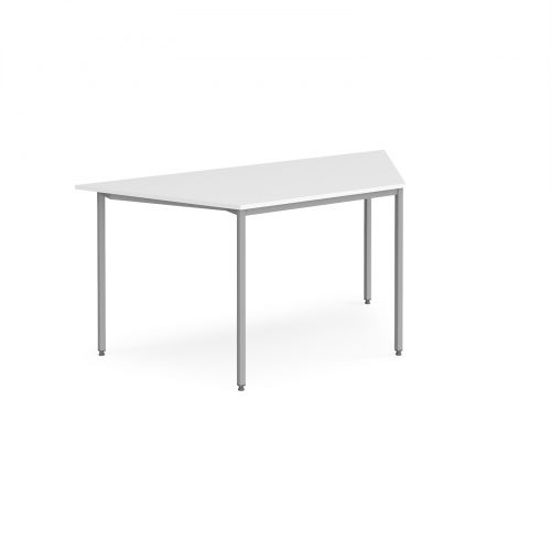 Trapezoidal flexi table with silver frame 1600mm x 800mm - white