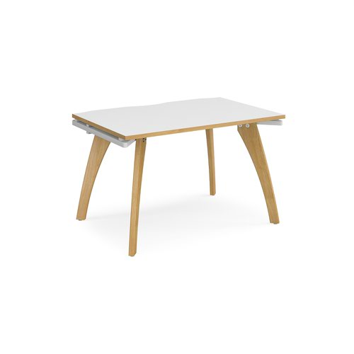 Fuze single desk 1200mm x 800mm - white frame and white top with oak edging