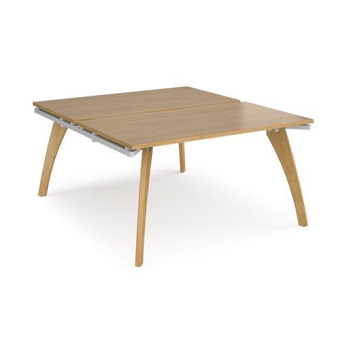 Fuze back to back desks 1400mm x 1600mm - white frame and oak top