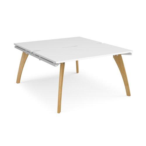 Fuze back to back desks 1400mm x 1600mm - white frame and white top