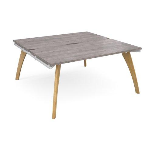 Fuze back to back desks 1600mm x 1600mm - white frame and grey oak top