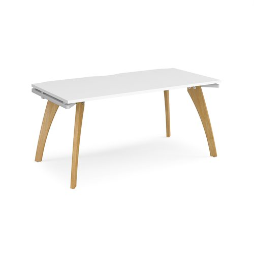 Fuze single desk 1600mm x 800mm - white frame and white top