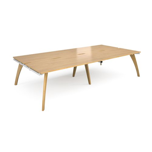 Fuze double back to back desks 3200mm x 1600mm - white frame and oak top