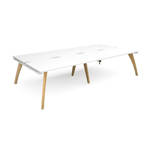 Fuze double back to back desks 3200mm x 1600mm - white frame and white top