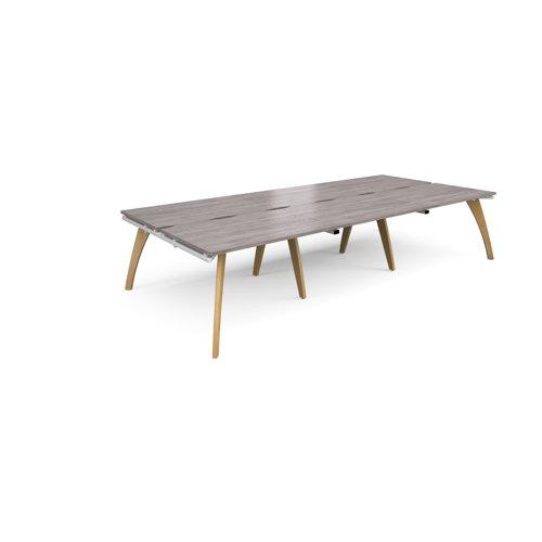 Fuze triple back to back desks 3600mm x 1600mm - white frame and grey oak top