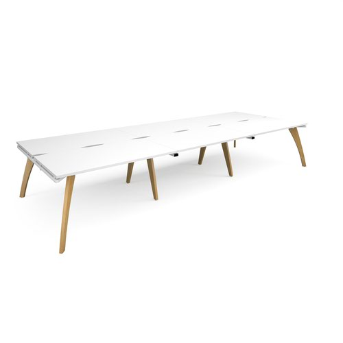 Fuze triple back to back desks 4200mm x 1600mm - white frame and white top