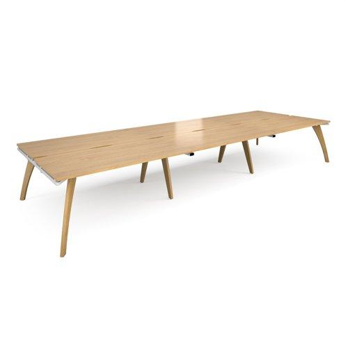 Fuze triple back to back desks 4800mm x 1600mm - white frame and oak top