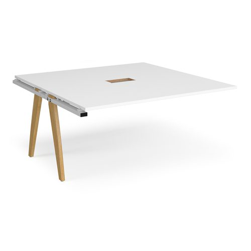 Fuze boardroom table add on unit 1600mm x 1600mm with central cutout 272mm x 132mm - white frame and white top