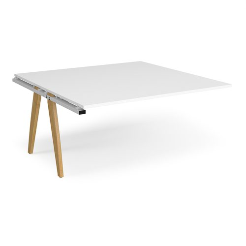 Fuze boardroom table add on unit 1600mm x 1600mm - white frame and white top
