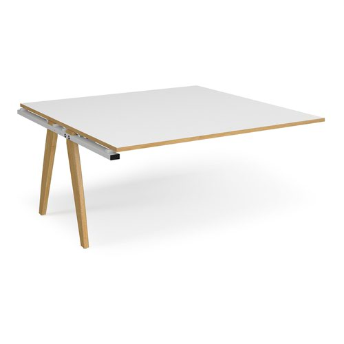 Fuze boardroom table add on unit 1600mm x 1600mm - white frame and white top with oak edging