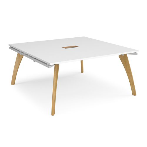 Fuze square boardroom table 1600mm x 1600mm with central cutout 272mm x 132mm - white frame and white top