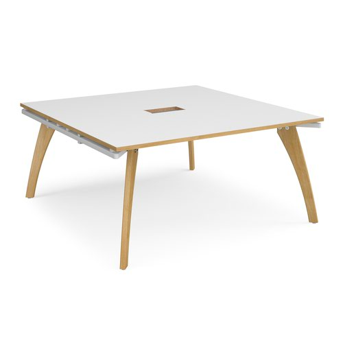Fuze square boardroom table 1600mm x 1600mm with central cutout 272mm x 132mm - white frame and white top with oak edge