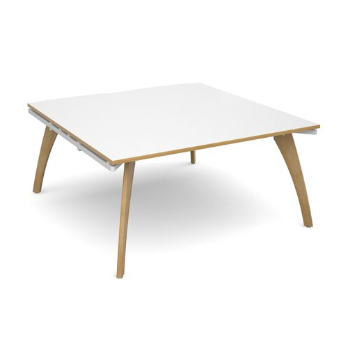 Fuze boardroom table starter unit 1600mm x 1600mm - white frame and white top with oak edging
